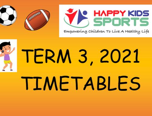 Happy Kids Sports Term 3, 2021 Timetables